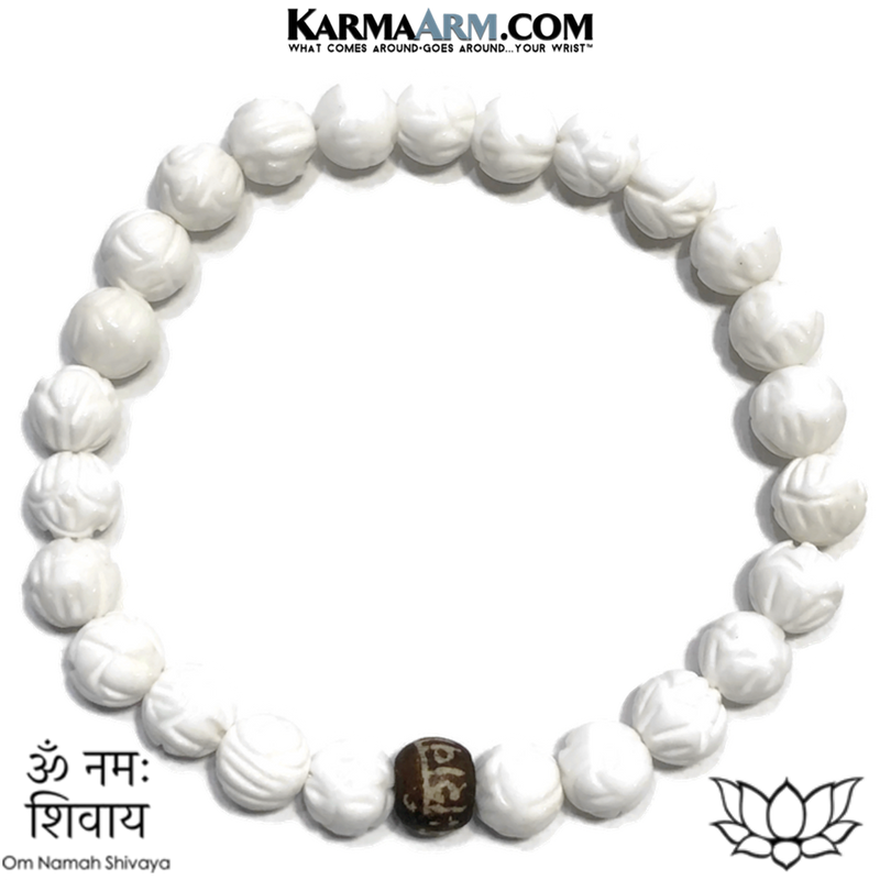 Om Namah Shivaya Meditation Wellness Yoga Bracelets. Mens Wristband Jewelry. Lotus Carved Tridacna.