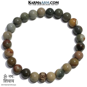 Om Namah Shivaya  Self-Care Wellness Meditation Yoga Bracelets. Mens Wristband Jewelry. Ocean Jasper.