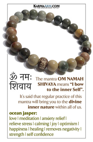 Om Namah Shivaya Wellness Self-Care Meditation Yoga Bracelets. Mens Wristband Jewelry. Ocean Jasper.