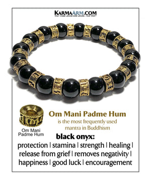 Om mani padme hum Yoga bracelet. Meditation self-care wellness mens bead wristband jewelry. 10mm black onyx .