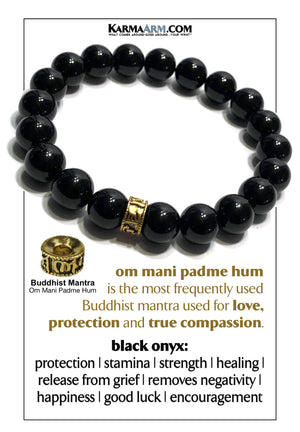 Om mani padme hum Yoga bracelet. Meditation self-care wellness mens bead wristband jewelry.