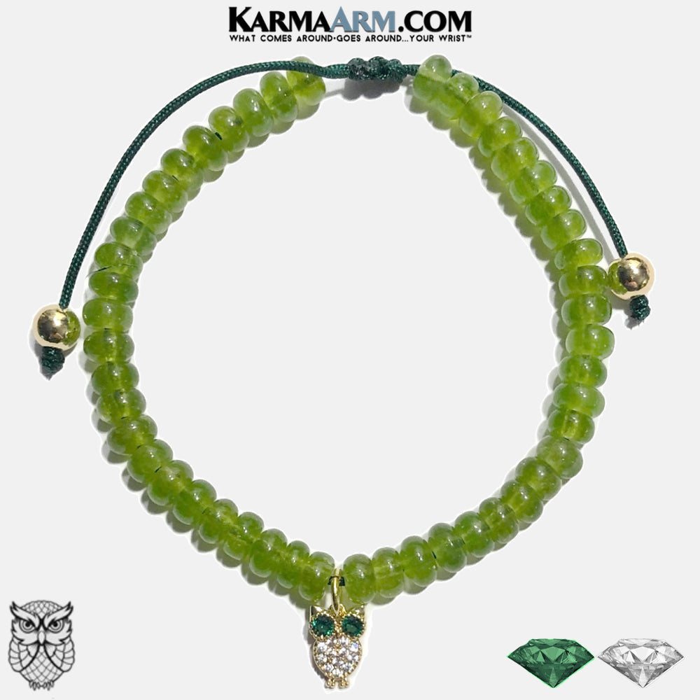 Owl Charm Bracelet. Meditation Mantra Yoga Bracelets. Self-Care Wellness Wristband Jewelry. Green Jade. copy