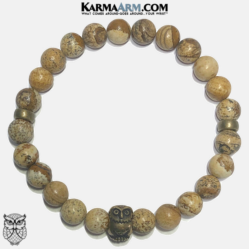 Owl Spirit animal Self-Care Meditation Wellness Yoga Bracelets. Mens Wristband Jewelry. Picture Jasper.