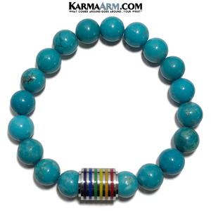 PRIDE LBGQT Meditation Mantra Yoga Bracelet. Meditation Self-Care Wellness Wristband Zen bead mala Jewelry. Turquoise.