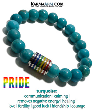 PRIDE LBGQT Meditation Mantra Yoga Bracelet. Meditation Self-Care Wellness Wristband Zen bead mala Jewelry. Turquoise. copy 2