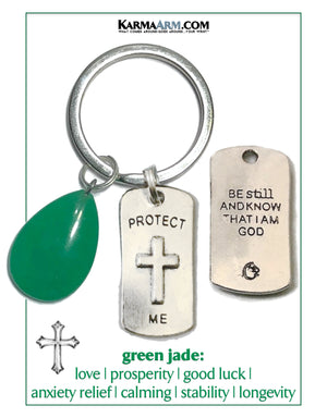PROTECT ME spiritural Scripture Meditation Mantra Yoga Bracelets. Self-Care Wellness Wristband Jewelry. Green Jade.     copy