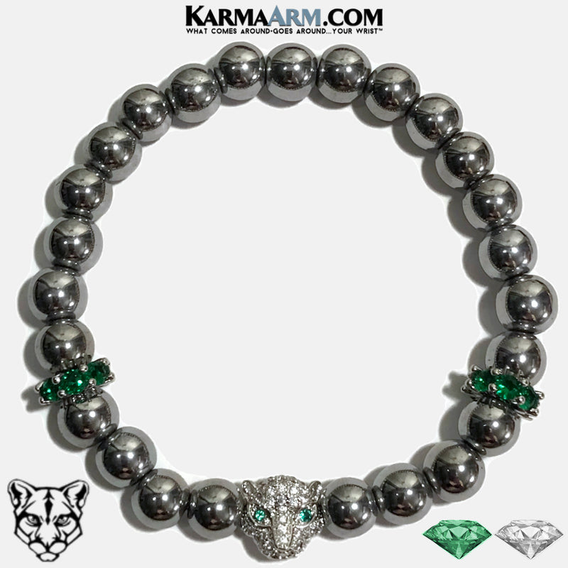Panther Cartier Love Bracelet Wellness Self-Care Meditation Yoga Bracelets. Mens Wristband Jewelry. Hematite Emerald Diamond.