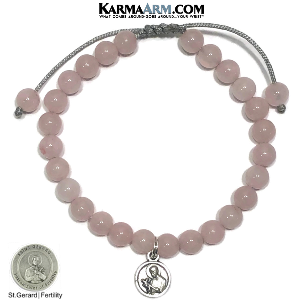 Patron Saint Fertility Pregnancy Gerard Self-Care Meditation  Yoga Bracelet. Wellness Wristband Yoga Jewelry. Rose Quartz.