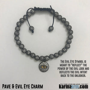 Yoga Bracelets. Evil Eye Pave. Stretch Beaded Chakra Jewelry. Energy Healing Meditation.