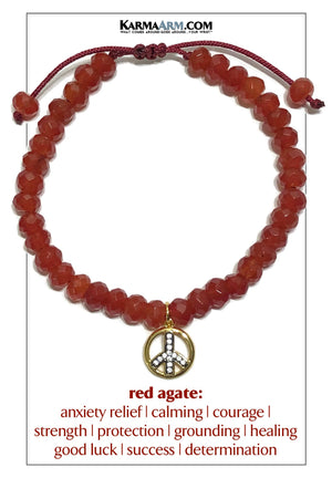 Peace Sign Meditation Yoga Bracelet. Self-Care Wellness Wristband Red Agate.
