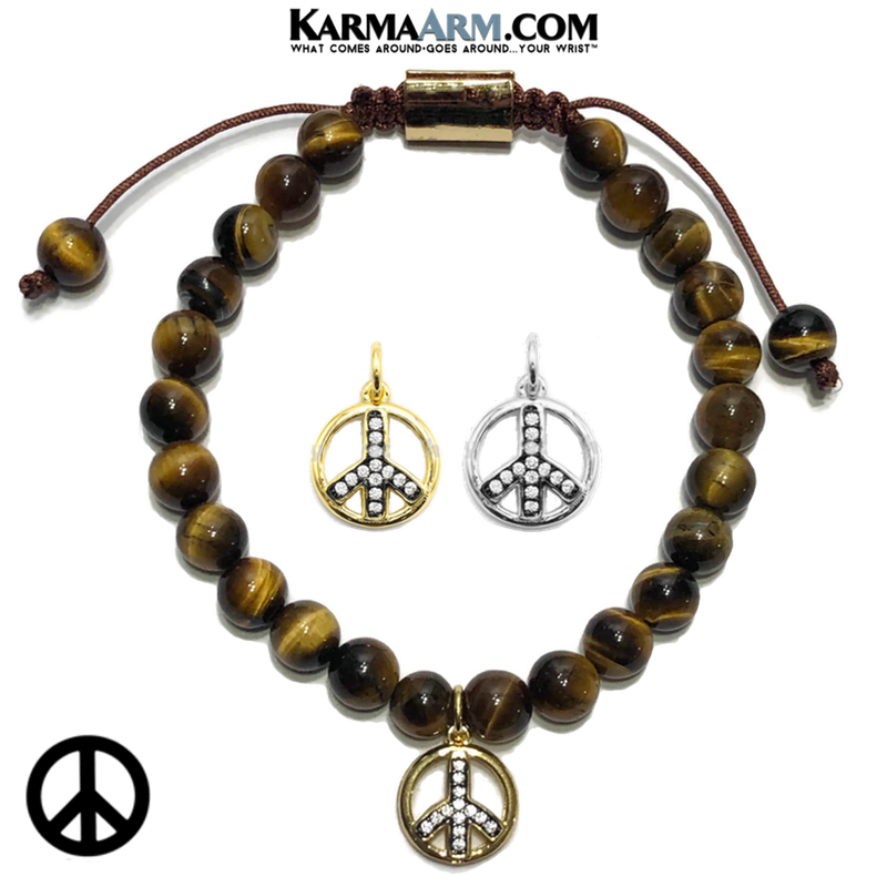 Peace Sign Meditation Mantra Yoga Bracelets. Mens Self-care wellness Wristband Jewelry. Tiger Eye.