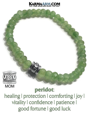 Peridot Yoga Bracelets. mothers day mom self-care wellness meditation wristband jewelry.