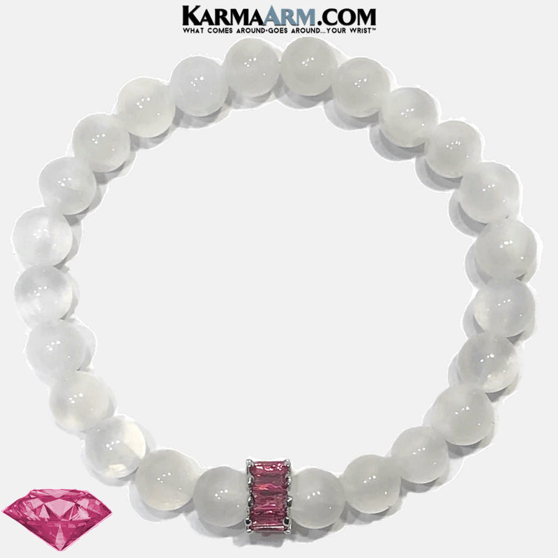 Pink Diamond Meditation Mens Bracelet. Self-Care Wellness Wristband Yoga Jewelry. Selenite