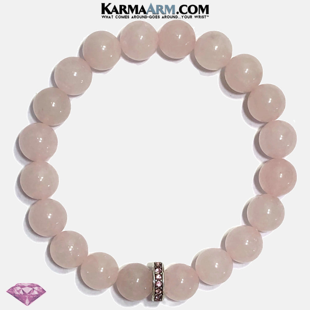 Pink Diamond Meditation Self-Care Yoga Bracelet. Wellness Wristband Yoga Jewelry. Rose Quartz.   copy