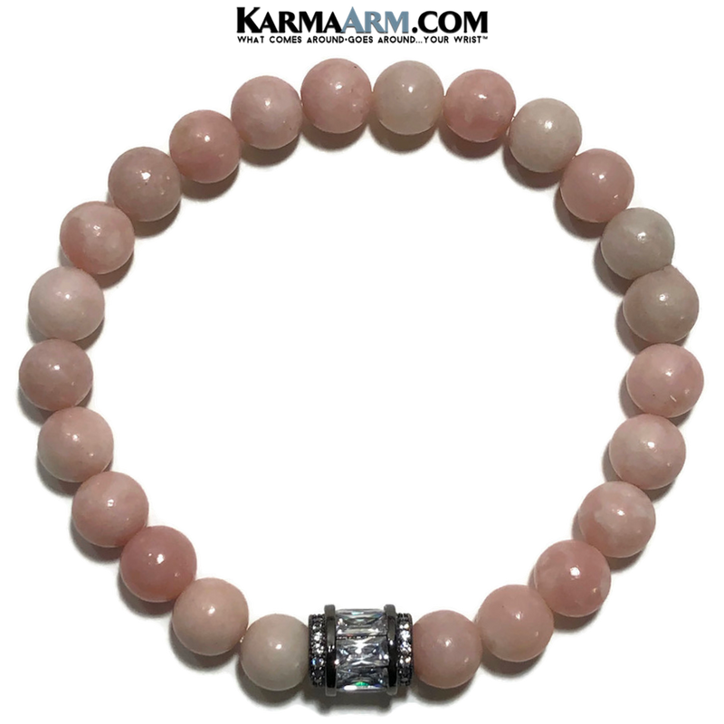 Pink Opal Yoga Bracelets. Meditation Self-Care Wellness Wristband Zen Diamond Jewelry.