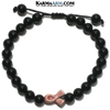 Pink Ribbon Breast Cancer Meditation Self-Care Wellness  Yoga Bracelets. Mens Wristband Jewelry. Black Onyx.
