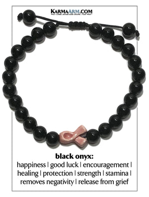 Pink Ribbon Breast Cancer Wellness Self-Care Meditation Yoga Bracelets. Mens Wristband Jewelry. Black Onyx.