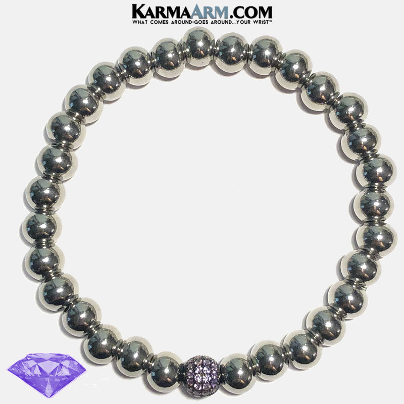 COLOR THERAPY | Stainless Steel | Violet Amethyst CZ Diamond Bracelet