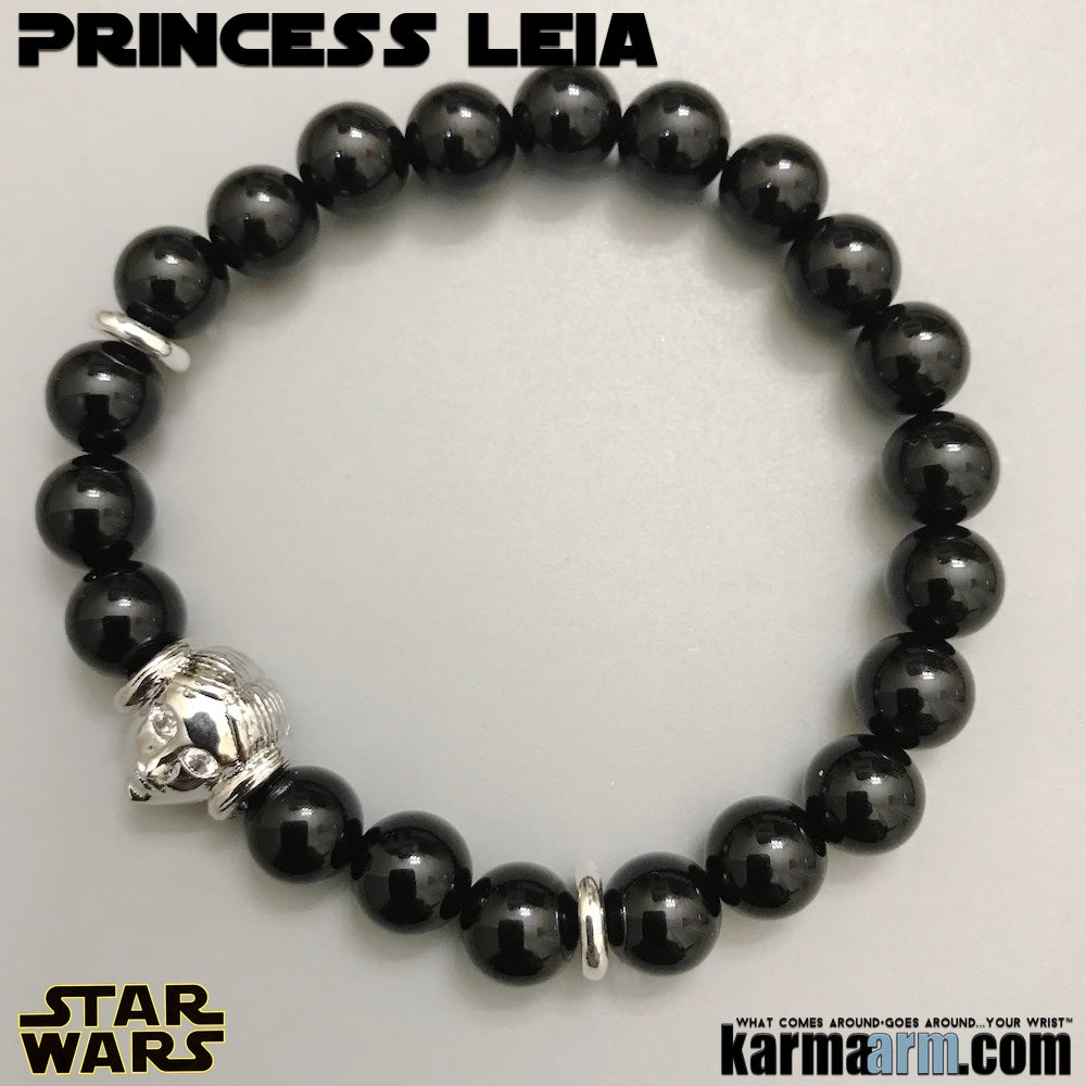 Princess Leia Yoga Bracelets. Star Wars Jewelry. The Last Jedi Bracelet. Comic-Con. Onyx Silver.
