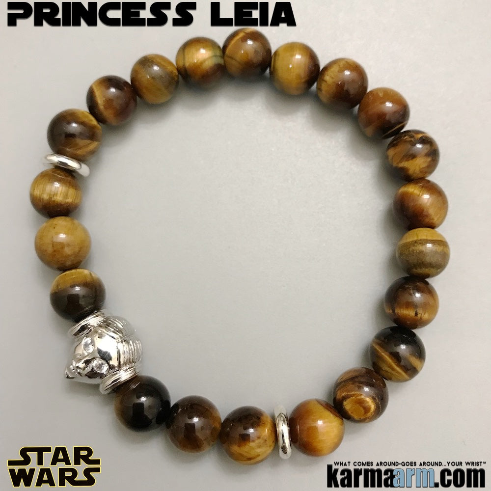 Princess Leia Yoga Bracelets. Star Wars Jewelry. Comic-Con. The Last Jedi Bracelet. Tigers Eye.