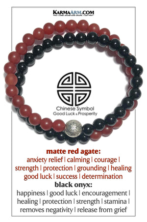 Prosperity Icon Meditation Mantra Yoga Bracelets. Self-Care Wellness Wristband Red Agate. Black Onyx.