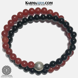 Prosperity Icon Meditation Yoga Bracelet. Self-Care Wellness Wristband Red Agate Black Onyx.