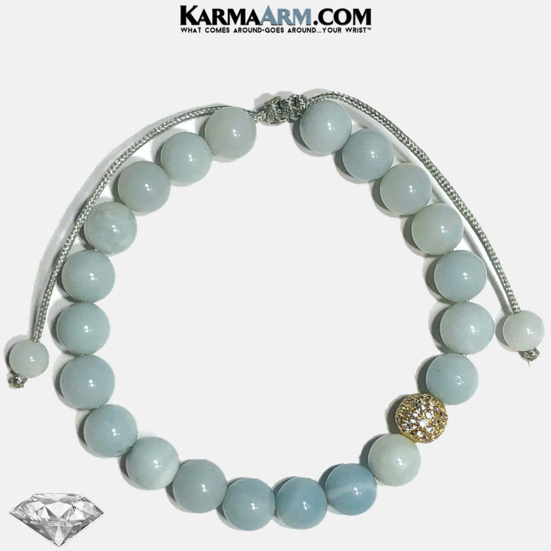 Pull-Tie Meditation Mantra Yoga Bracelets. Mens Wristband Jewelry. Blue Amazonite Diamond bracelet.