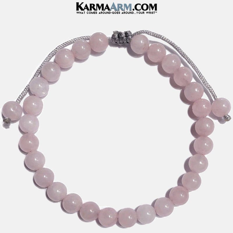 Pull Tie Rose Quartz Bracelet. Meditation Self-Care Yoga Bracelet. Wellness Wristband Yoga Jewelry. 6mm.