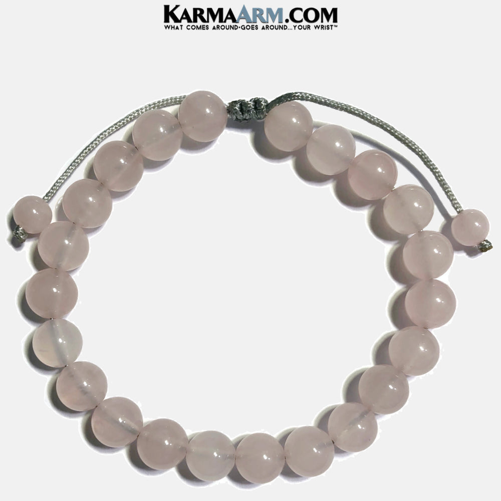 Pull Tie Rose Quartz Bracelet. Meditation Self-Care Yoga Bracelet. Wellness Wristband Yoga Jewelry. 8mm.