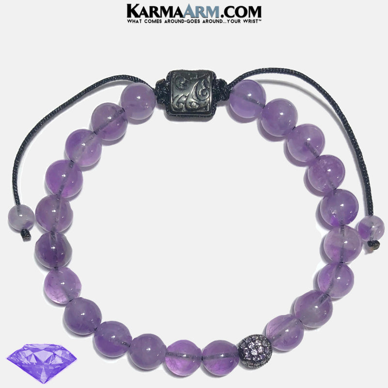Yoga Bracelet. Mens Wellness Self-Care Meditation Mantra Yoga Bracelets. Mens Wristband Jewelry. Amethyst.