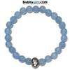 Queen Bee Wellness Self-Care Meditation Mantra Yoga Bracelets. Mens Wristband Jewelry. Blue Jade.