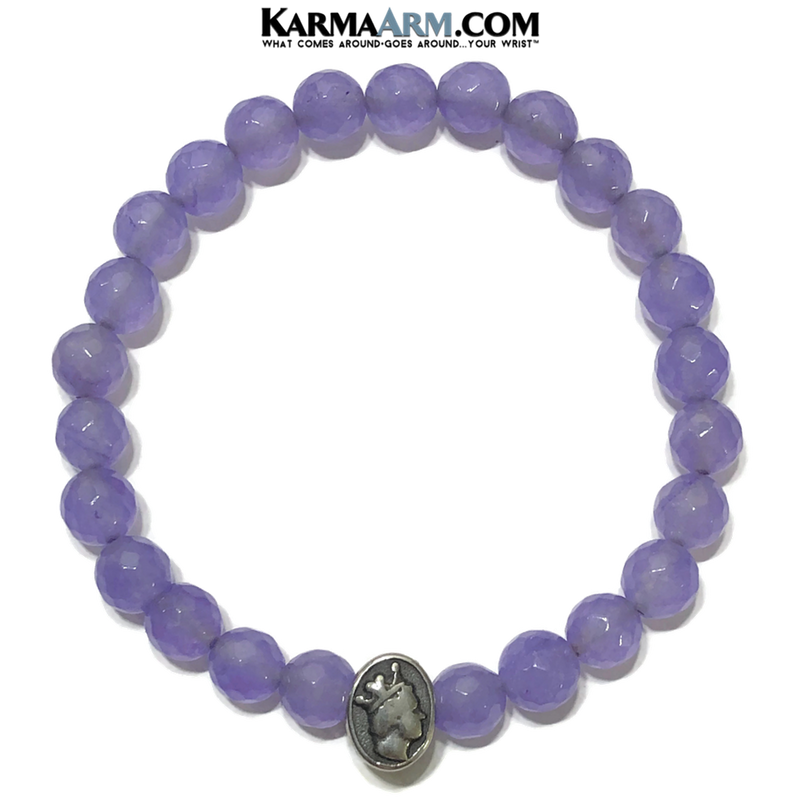 Queen Bee Meditation Mantra Yoga Bracelets. Mens Wristband Jewelry. Purple Jade.