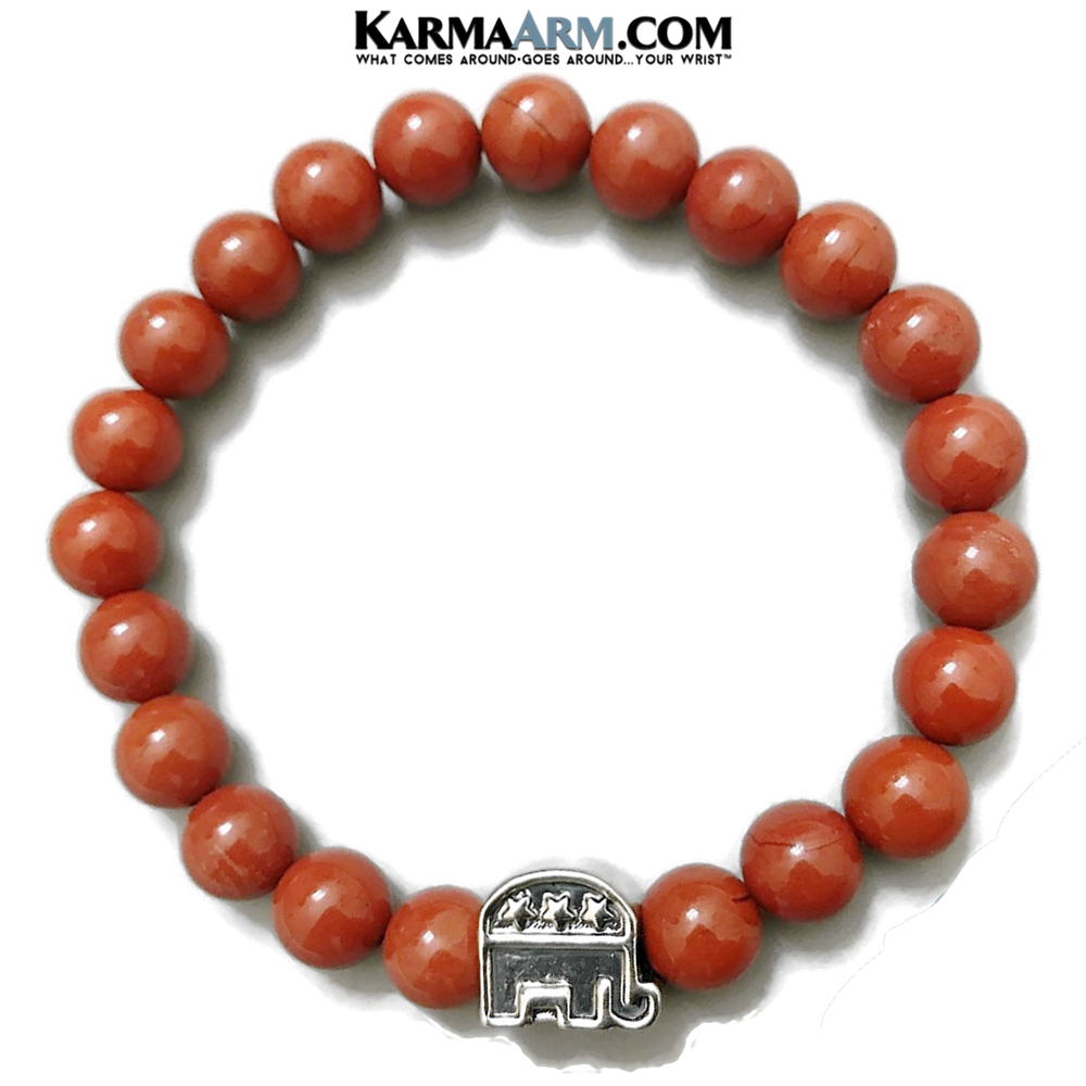 RNC Republican Elephant Bracelet. Trump MAGA Meditation Mantra Yoga Bracelet. Self-Care Wellness Wristband Jewelry. Red Jasper.