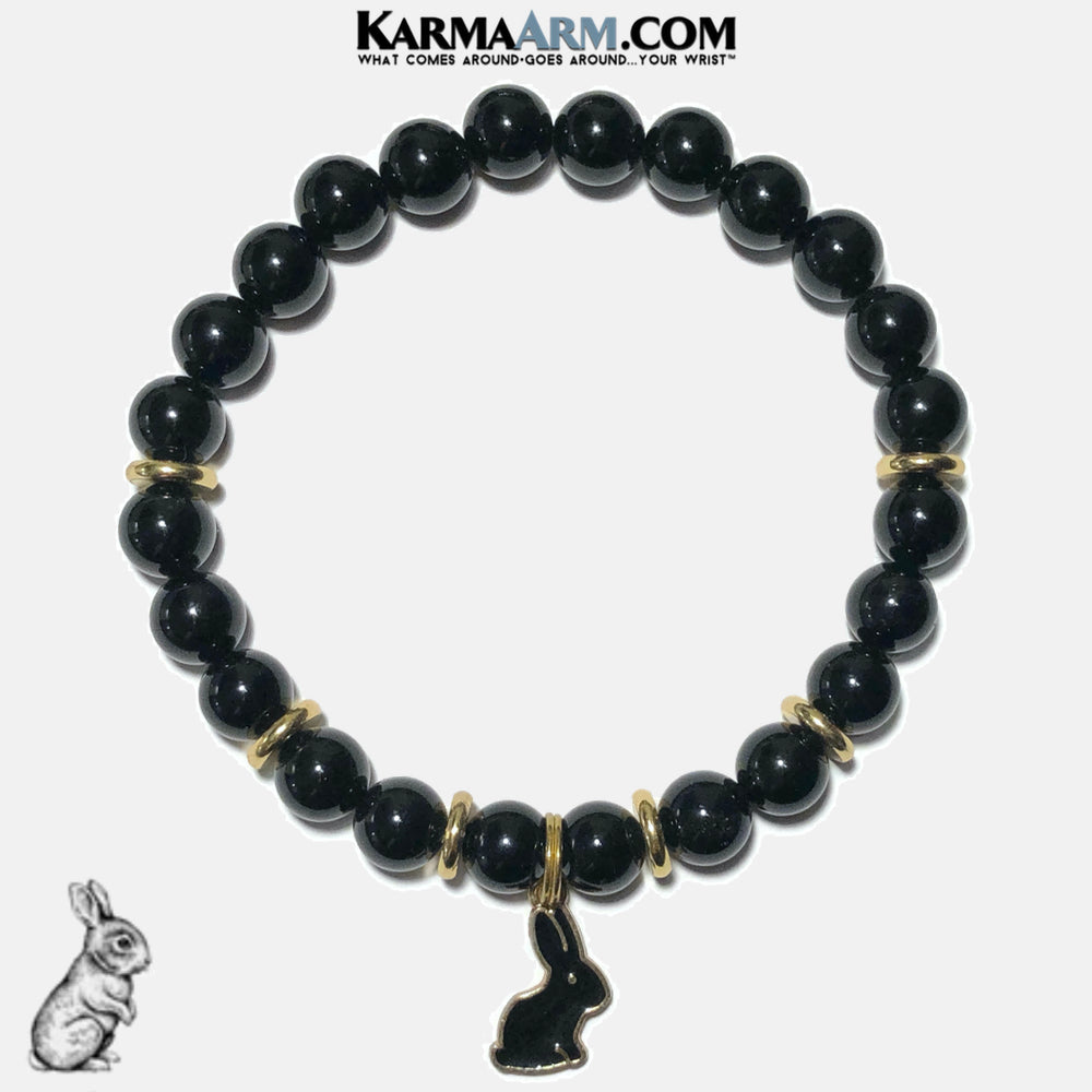 Rabbit Bunny Wellness Self-Care Meditation Yoga Bracelets. Mens Wristband Jewelry. Black Onyx.