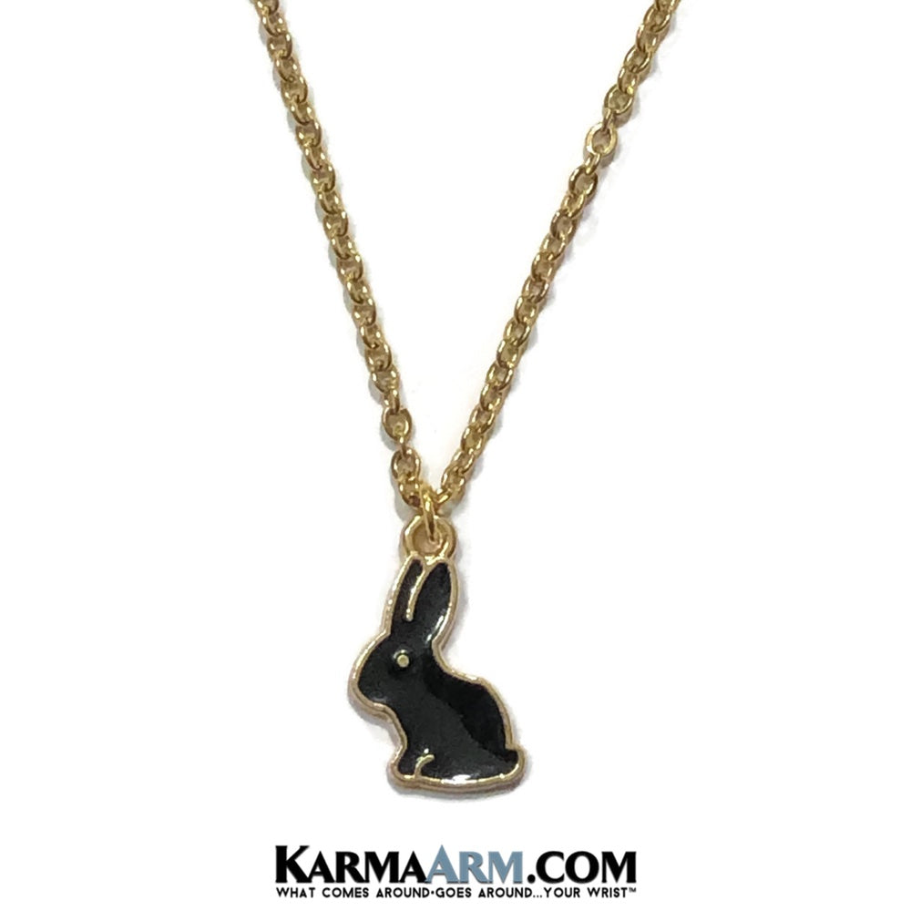 Rabbit Bunny Necklace. Lucky Charm JuJu jewelry. Black Rabbit.