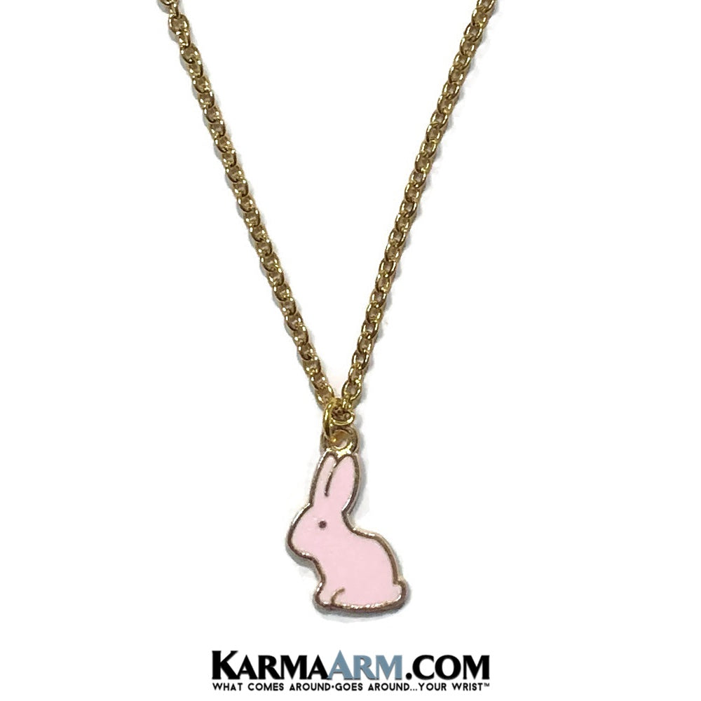 Rabbit Bunny Necklace. Lucky Charm JuJu jewelry. Pink.
