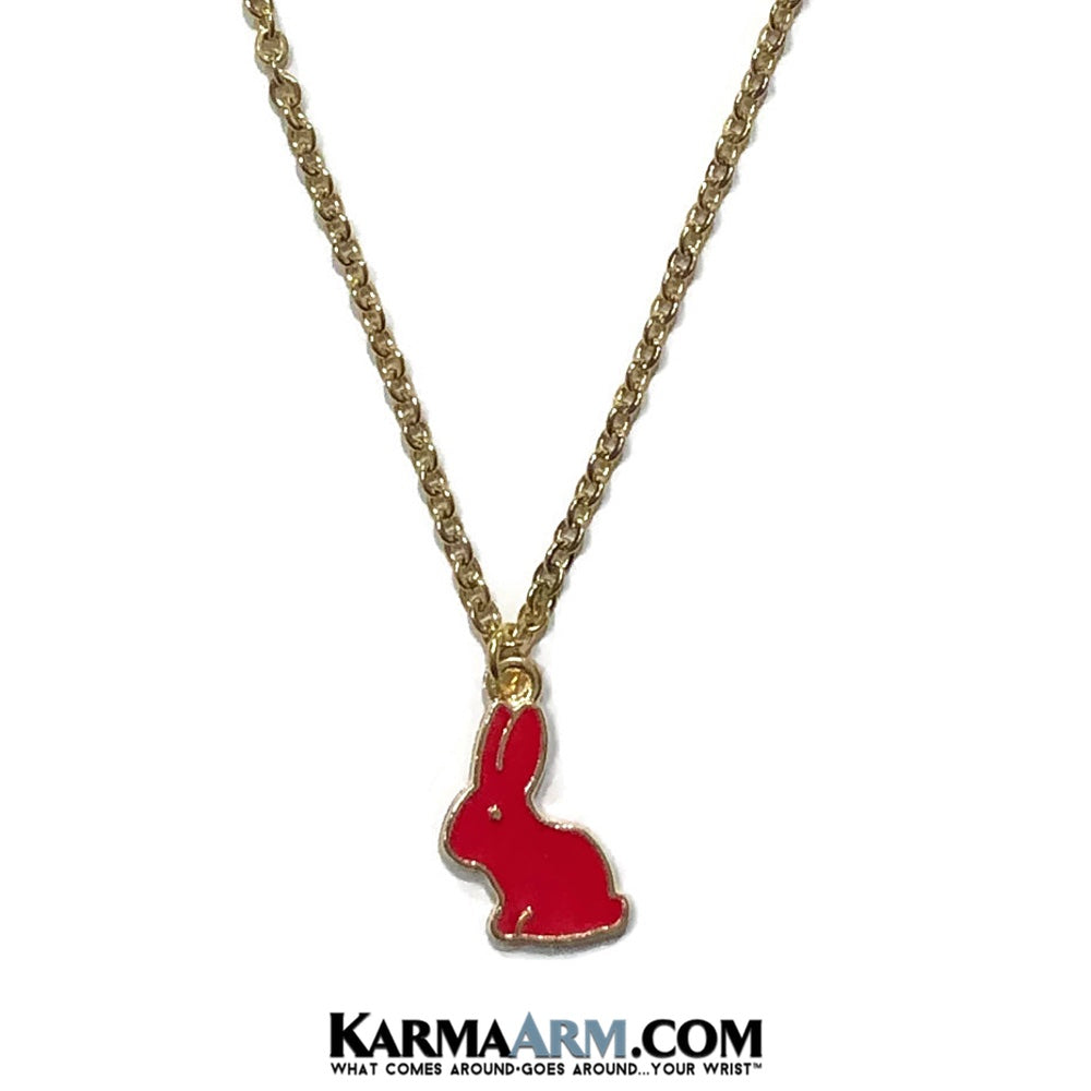 Rabbit Bunny Necklace. Lucky Charm JuJu jewelry. Red.
