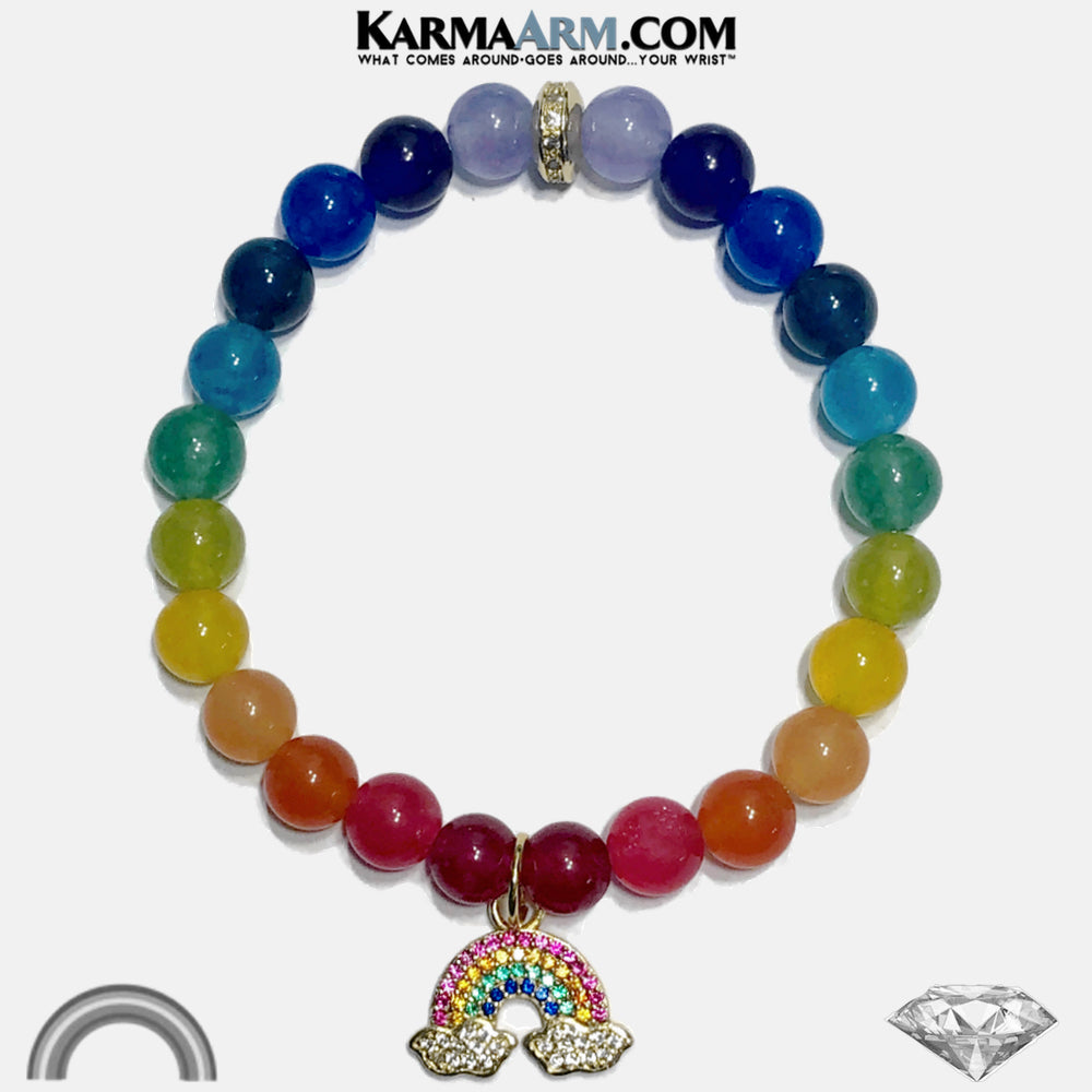 Rainbow Meditation Mantra Yoga Bracelets. Self-Care Wellness Wristband Jewelry. Jade.