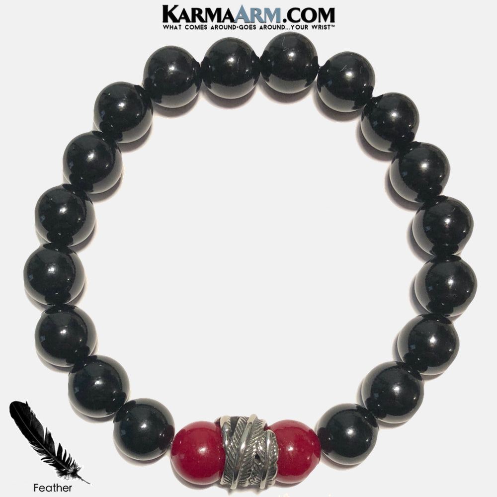 FREEDOM | Black Onyx | Ruby Red Jade | Feather Bracelet