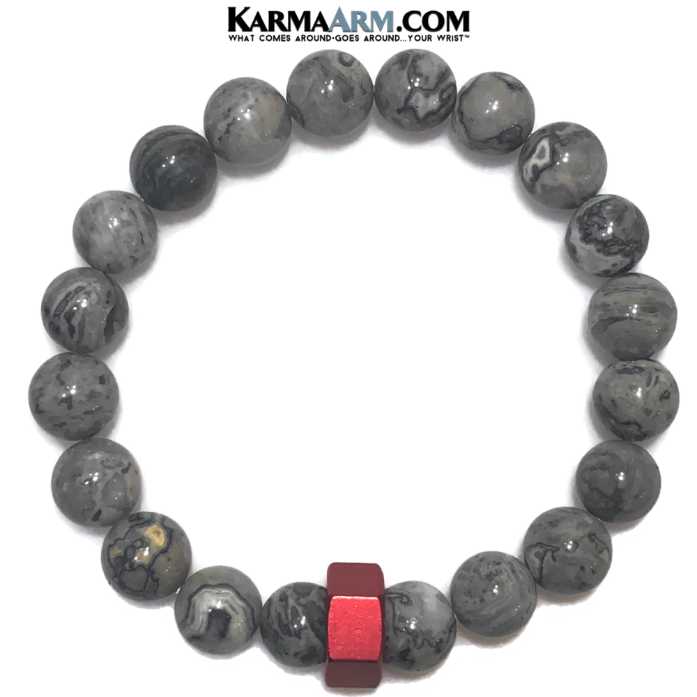 Red Hex Meditation Self-Care Wellness Mantra Yoga Bracelet. Bead Wristband. Crazy Lace Agate.