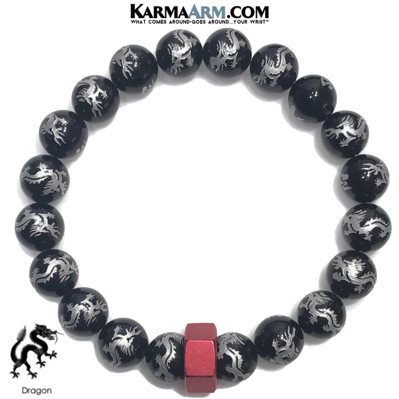 Red Hex Wellness Meditation Yoga Bracelets. Mens Wristband Jewelry. Dragon Black Agate.