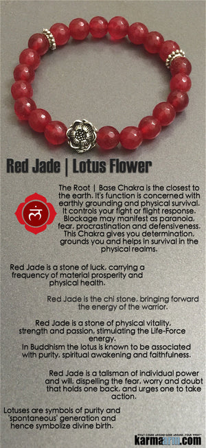 Red Jade Lotus Flower Charm Men's Women's Yoga Bracelets. Chakra Healing Mala.
