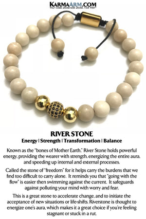 River Stone Yoga Bracelets. Reiki Chakra BoHo Beaded Meditation Jewelry.