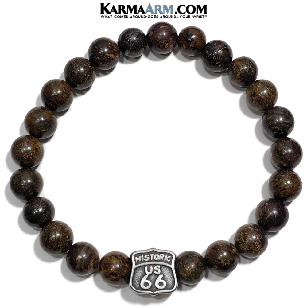 Route 66 yoga bracelets . Self-Care Wellness Meditation Yoga Bracelets. Mens Wristband Jewelry. Bronzite.