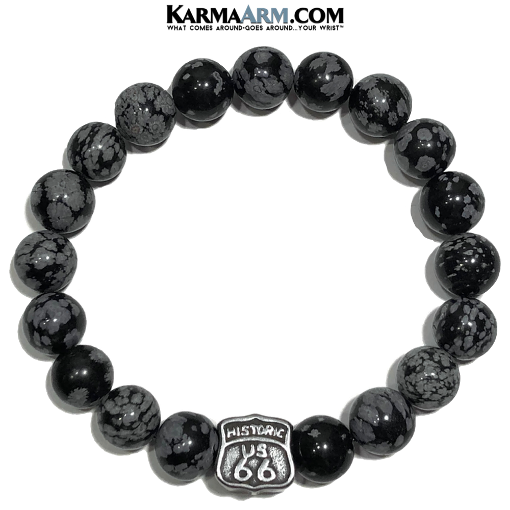 Route 66 Wellness Meditation Mens Bracelet. Self-Care Wristband Yoga Jewelry. Snowflake Obsidian.