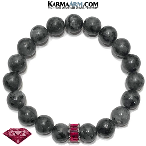 Ruby Red CZ Diamond Meditation Mantra Self-Care Wellness Yoga Bracelets. Mens Wristband Jewelry. Black Labradorite.