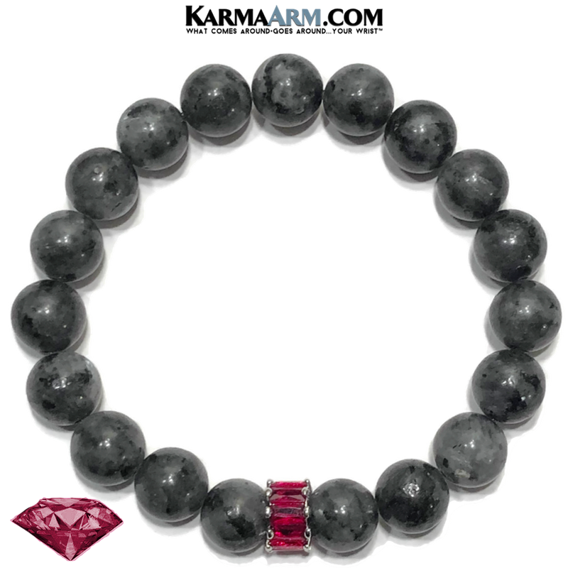 Ruby Red CZ Diamond Meditation Wellness Self-Care Yoga Bracelets. Mens Wristband Jewelry. Black Labradorite.