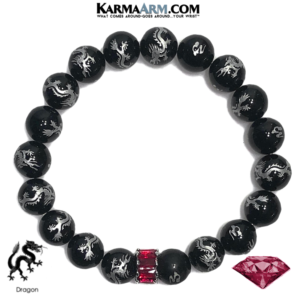 Ruby Red Diamond Wellness Meditation Yoga Bracelets. Mens Wristband Jewelry. Dragon Black Agate.