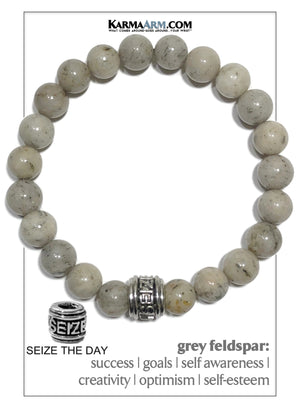 Carpe Diem Seize The Day Wellness Self-Care Meditation Yoga Bracelets. Mens Wristband Jewelry. Grey Feldspar.