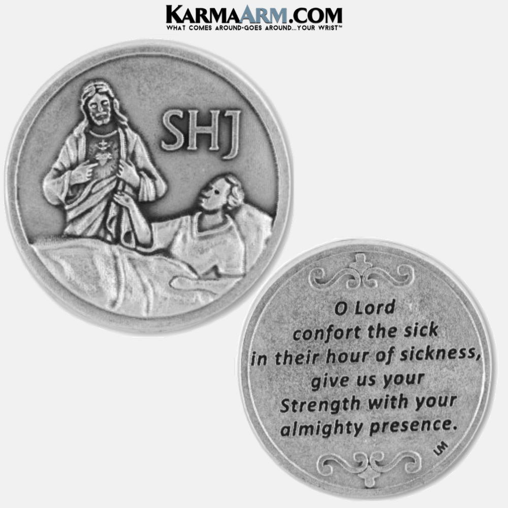 Sacred Heart of Jesus | Comforting the Sick Miracle Medal Pocket Token. Healing Saints | Prayer Tokens.  Lucky Poker Pocket Tokens.  Inspirational coins. copy 8